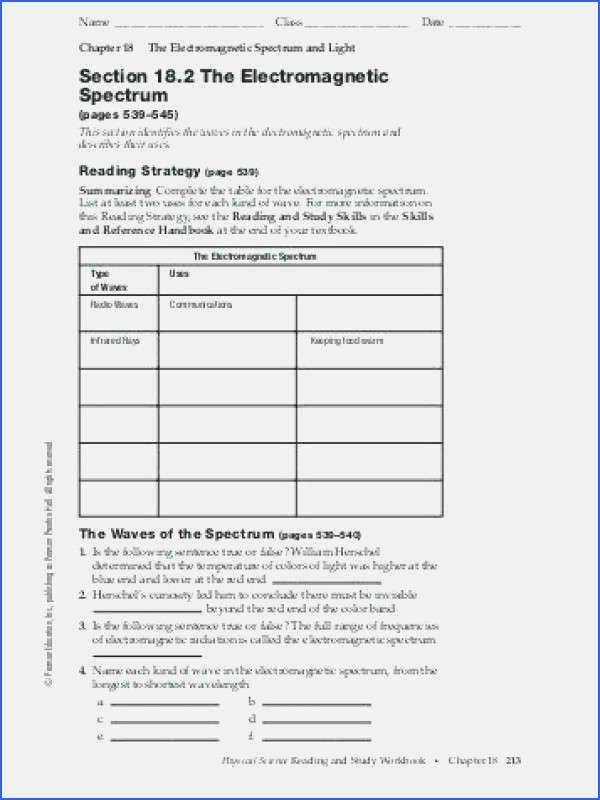 The Electromagnetic Spectrum Worksheet Luxury 23 Inspirational the Electromagnetic Spectrum Worksheet