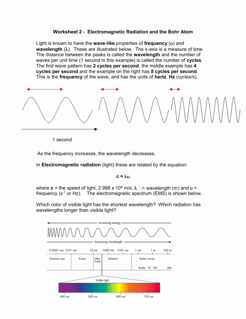 The Electromagnetic Spectrum Worksheet New Worksheet 11 Electromagnetic Radiation and the Bohr atom