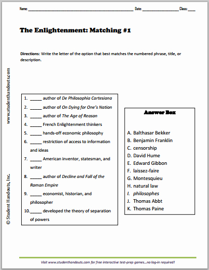 The Enlightenment Worksheet Answers Awesome Enlightenment Matching Worksheets Five Free Printable