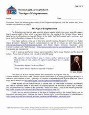 The Enlightenment Worksheet Answers Beautiful Homeschool Learning Network the Age Of Enlightenment 6th