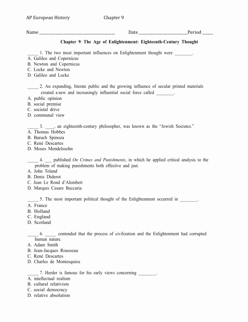 The Enlightenment Worksheet Answers Beautiful Worksheet