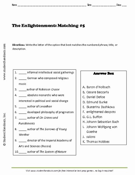 The Enlightenment Worksheet Answers Best Of the Enlightenment Matching 5 Worksheet for 7th 8th
