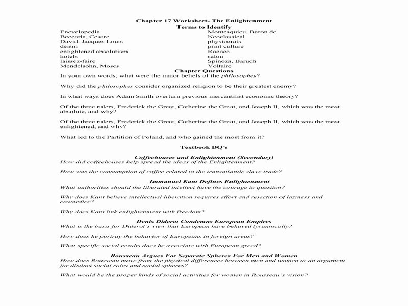 The Enlightenment Worksheet Answers Fresh Enlightenment songs Free Printable Worksheets