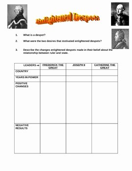 The Enlightenment Worksheet Answers Inspirational Enlightened Despots Worksheet by Jason Stein