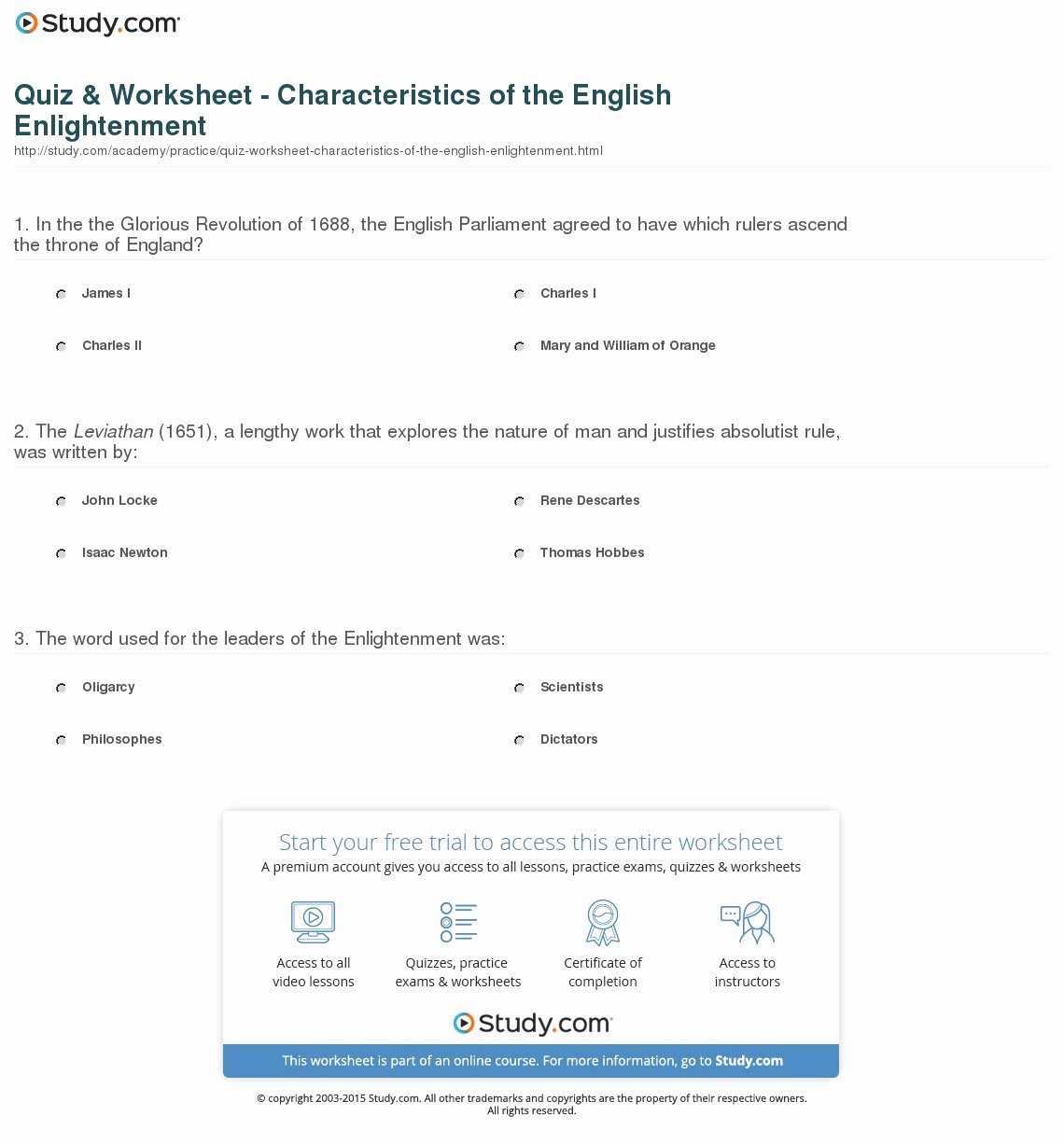 The Enlightenment Worksheet Answers Inspirational Quiz & Worksheet Characteristics Of the English