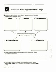 The Enlightenment Worksheet Answers Lovely the Enlightenment In Europe Graphic organizer for 6th