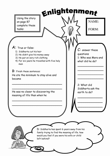 The Enlightenment Worksheet Answers New Buddhism Worksheets Life Of Buddha Meditation by Mzrmarx