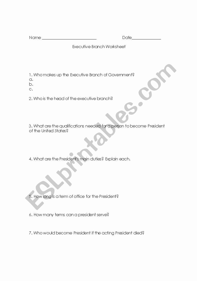 The Executive Branch Worksheet Elegant English Worksheets Executive Branch Worksheet