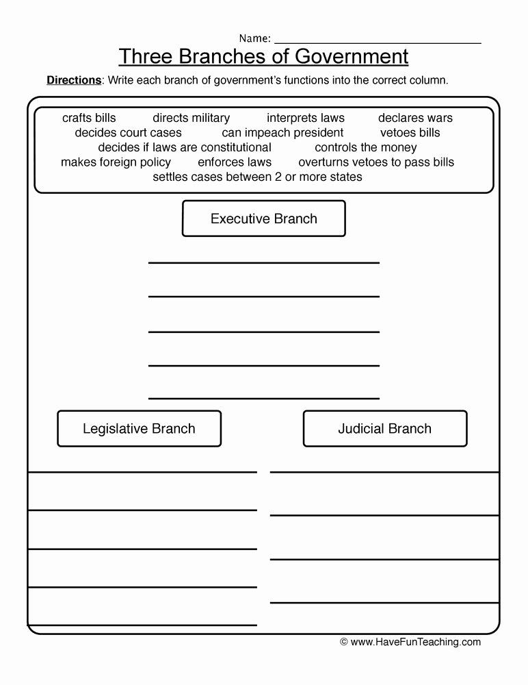The Executive Branch Worksheet Elegant Three Branches Of Government Worksheet