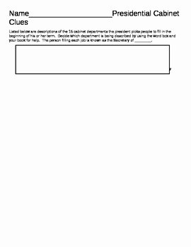 The Executive Branch Worksheet New Presidential Cabinet Worksheet Executive Branch by Amy