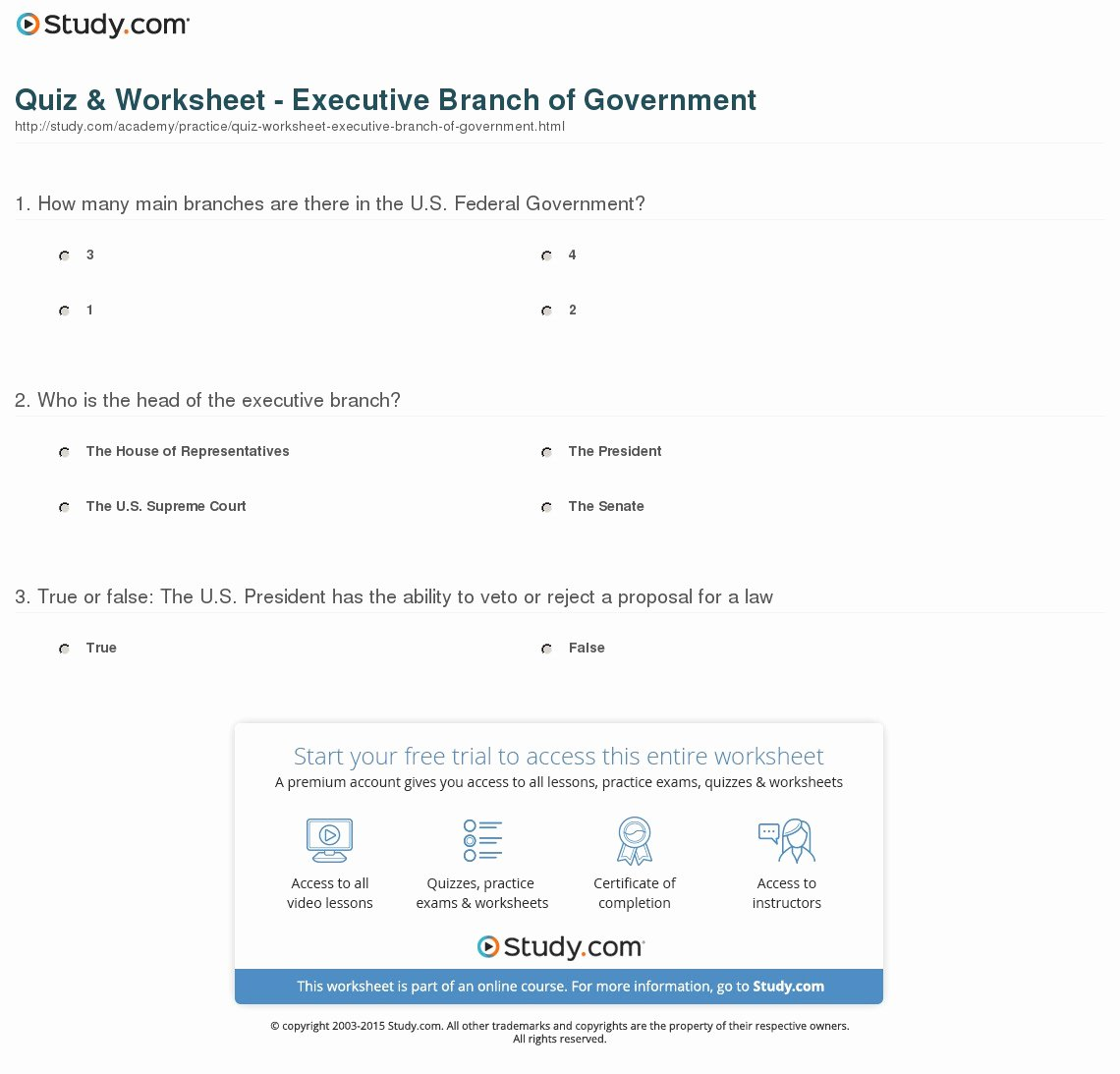 The Executive Branch Worksheet Unique Quiz & Worksheet Executive Branch Of Government