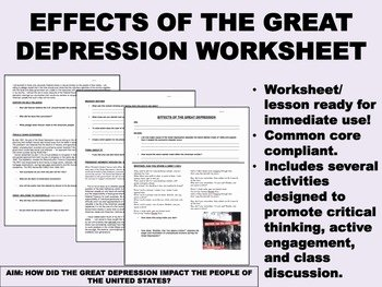 The Great Depression Worksheet Best Of Effects Of the Great Depression Worksheet Us History