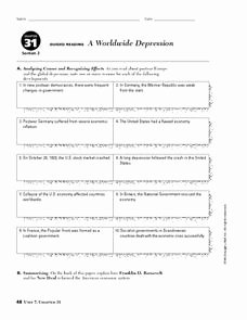 The Great Depression Worksheet Fresh A Worldwide Depression Worksheet for 9th 10th Grade