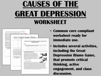 The Great Depression Worksheet Inspirational Causes Of the Great Depression Us History Mon Core