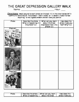 The Great Depression Worksheet Lovely the Great Depression Gallery Walk Worksheet by Mrs Fs