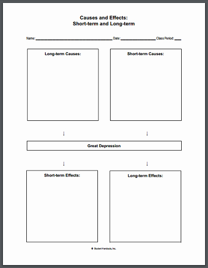 The Great Depression Worksheet Unique Causes and Effects Of the Great Depression Blank Worksheet