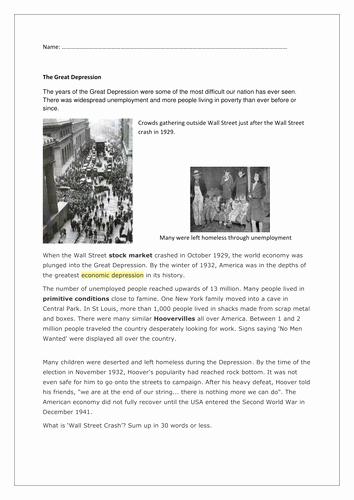 The Great Depression Worksheet Unique Great Depression Worksheets How People Lived Pdf
