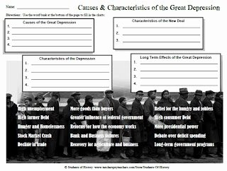 The Great Depression Worksheet Unique Students Of History Causes and Characteristics Of the