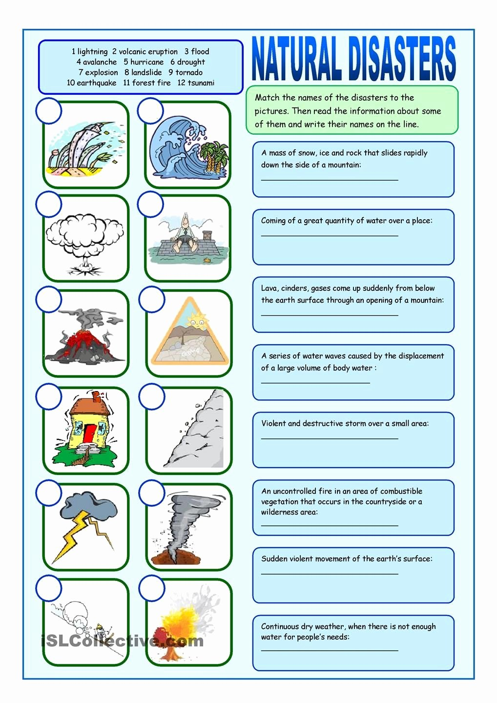 The Language Of Science Worksheet New Natural Disasters Matching Exercises English
