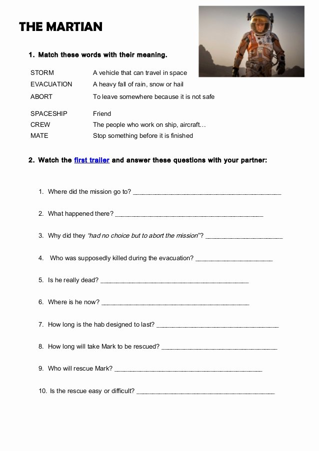 The Martian Movie Worksheet Beautiful the Martian Activity Worksheet by Gemma Vinyals