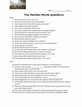 The Martian Movie Worksheet Beautiful the Martian Movie Questions by See What We Can Discover