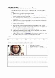 The Martian Movie Worksheet Fresh the Martian Esl Worksheet by Balmau
