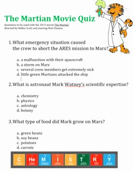 The Martian Movie Worksheet Fresh the Martian Movie Questions by Chemistry with Dr Kristie