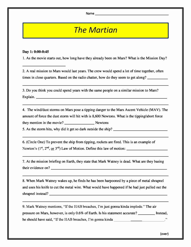 The Martian Movie Worksheet Inspirational the Martian Movie Worksheet 2015 Pg 13 Conceptual