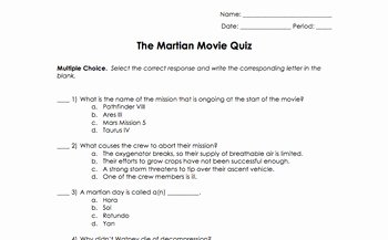 The Martian Movie Worksheet Lovely the Martian Movie Worksheet by Science Classy