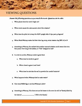 The Martian Movie Worksheet Luxury the Martian 2015 Guided Viewing Movie Guide Worksheet