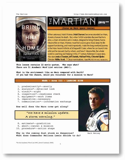 The Martian Movie Worksheet Unique Movies Grow English Movie Esl Lesson