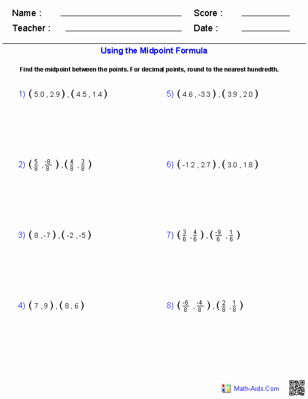 The Midpoint formula Worksheet Answers Best Of Algebra 1 Worksheets