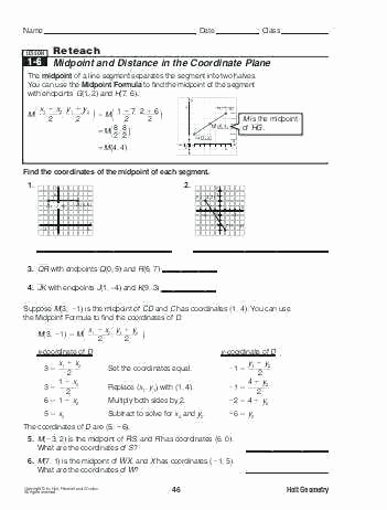 The Midpoint formula Worksheet Answers Best Of Coordinate Geometry Worksheets