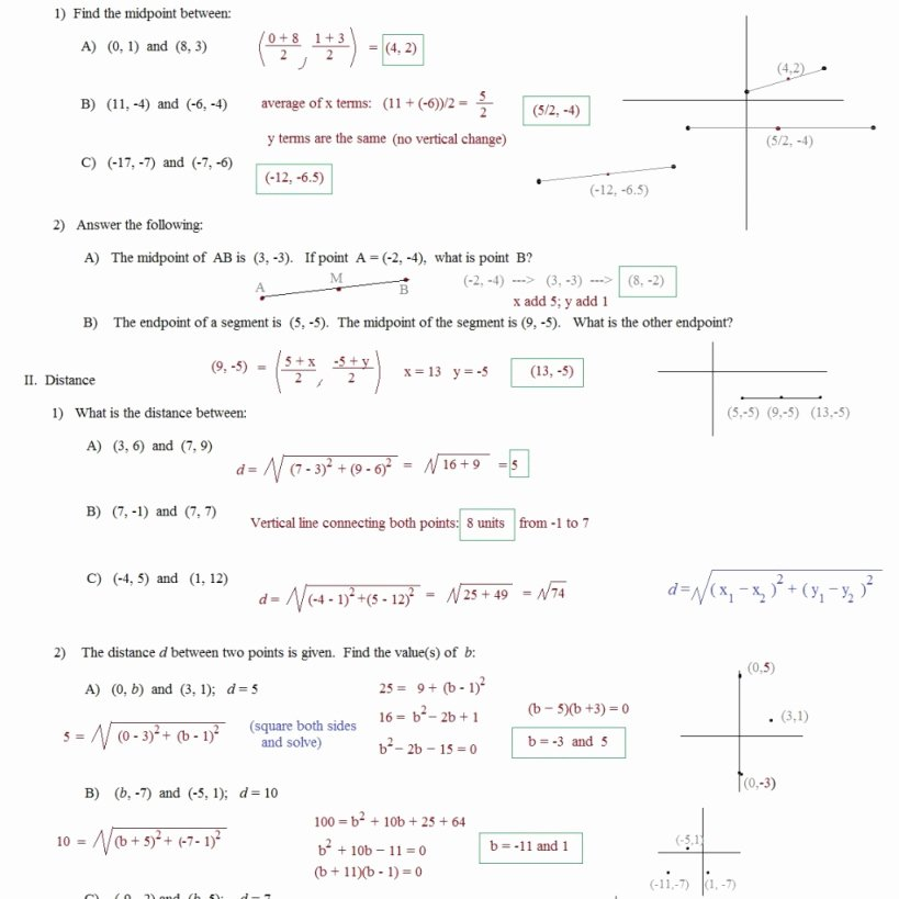 The Midpoint formula Worksheet Answers Best Of the Midpoint formula Worksheet Answers