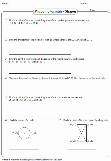 The Midpoint formula Worksheet Elegant Midpoint formula Worksheets