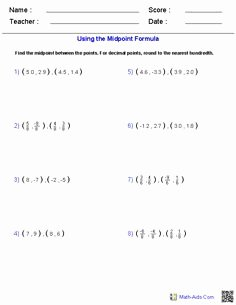 The Midpoint formula Worksheet Fresh Using the Distance formula Math Aids
