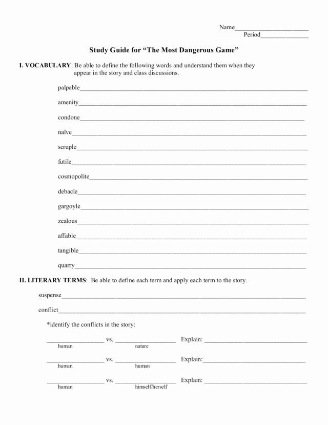 The Most Dangerous Game Worksheet Awesome Study Guide the Most Dangerous Game Worksheet for 7th