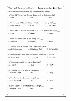 "The Most Dangerous Game Worksheet Beautiful Richard Connell ""the Most Dangerous Game"" Worksheets by"