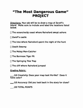 The Most Dangerous Game Worksheet Fresh the Most Dangerous Game Short Story Map Drawing Activity