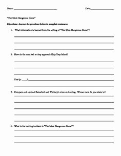 The Most Dangerous Game Worksheet Inspirational the Most Dangerous Game Characterization Worksheet