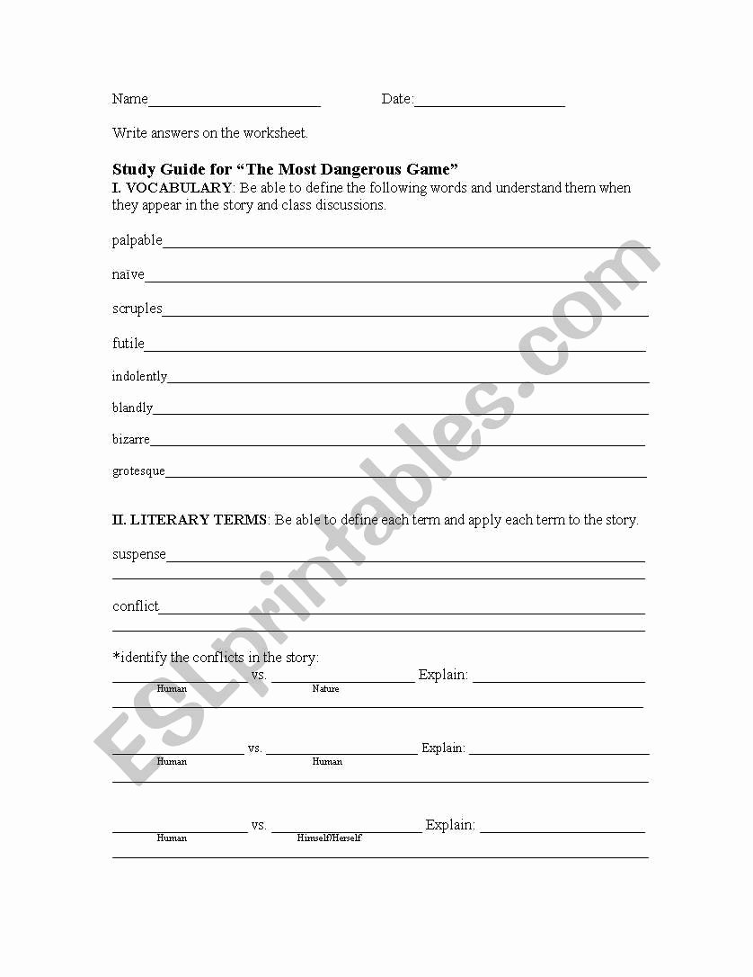 The Most Dangerous Game Worksheet Lovely English Worksheets the Most Dangerous Game Study Guide