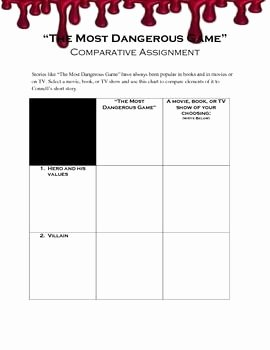 "The Most Dangerous Game Worksheet Lovely ""the Most Dangerous Game"" Parative Worksheet This"