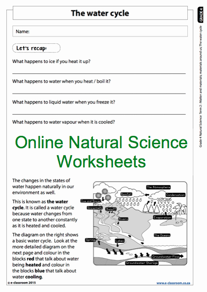 The Nature Of Science Worksheet Elegant Grade 4 Line Natural Science Worksheet the Water Cycle