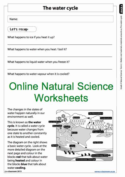 The Nature Of Science Worksheet Elegant Grade 4 Line Natural Science Worksheet the Water Cycle