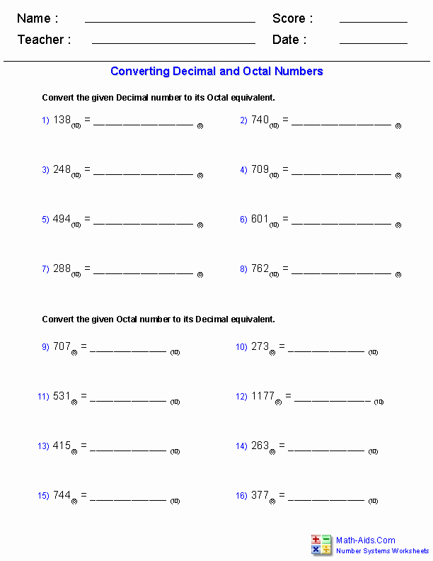 The Number System Worksheet Beautiful Number Systems Worksheets