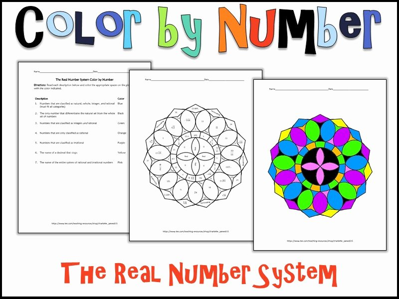 The Number System Worksheet Beautiful the Real Number System Color by Number by Charlotte