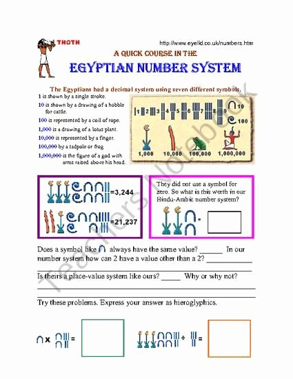 The Number System Worksheet Elegant 166 Best Images About Egyptian Stuff On Pinterest