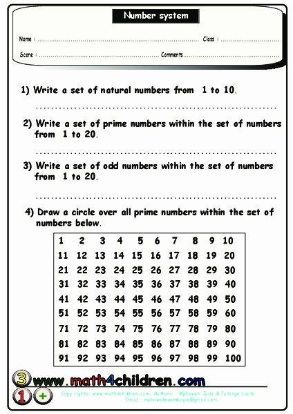The Number System Worksheet Elegant Number System Worksheet for 4th 5th Grade