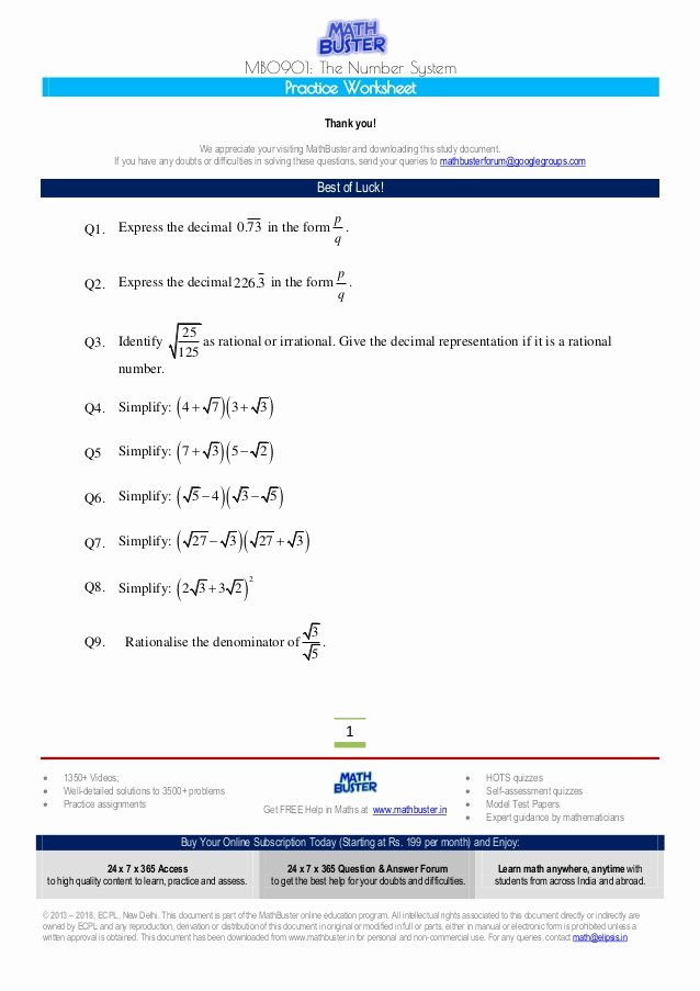 The Number System Worksheet Unique Mathbuster Practice Worksheet Cbse Class 9 Chapter 1