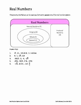 The Number System Worksheet Unique Real Number System Search and order Worksheet by Darla
